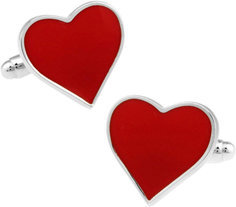 Daesar Mens Cuff Links and Shirt Studs Cuff Links Wedding Heart Cuff Links Red