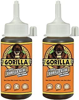 Gorilla Original Gorilla Glue, Waterproof Polyurethane Glue, 4 ounce Bottle, Brown, (Pack of 2)
