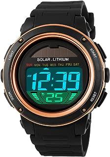 Multi Function Solar Power Watch LED Sport Watches Digital Waterproof Chronograph Wrist Watch