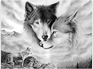 oAtm0eBcl Art Painting, Realism Unframed Animal Wolf Print Canvas Painting for Home Living Room Bedroom, Picture Poster Wa...