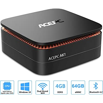 "ACEPC AK1 Mini PC,Windows 10(64 bit) Computer desktop Intel Celeron Apollo Lake J3455 (fino a 2,3GHz) Computer desktop[4GB/64GB/Supporto SSD da 2,5""/ SSD mSATA/Doppio WiFi/Gigabit Ethernet/BT 4.2/4K]"