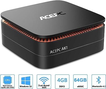 """ACEPC AK1 Mini PC,Windows 10(64 bit) Computer desktop Intel Celeron Apollo Lake J3455 (fino a 2,3GHz) Computer desktop[4GB/64GB/Supporto SSD da 2,5""""/ SSD mSATA/Doppio WiFi/Gigabit Ethernet/BT 4.2/4K] - Confronta prezzi"""