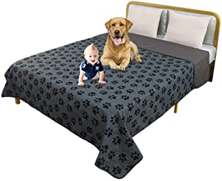 TTLUCKY Resuable Paw Printed Waterproof Pet Blanket Reversible Dog Bed Cover,Soft Furniture Protector Cover for Kids Pet P...
