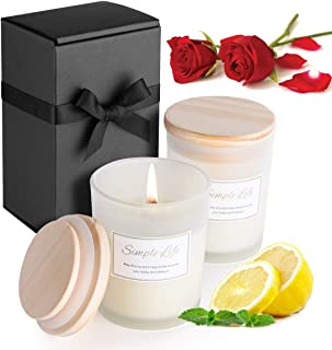 Scented Candle,Balance Harmony Soy Candle for Home Decor and Stress Relief Glass Jar Candle Highly Fragrance Long Lasting 14.8 oz Soy Wax Aroma Candle Relaxing Aromatherapy Candle-Rose+Lemon,2 Pack