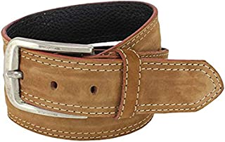 Mens Belt Light Brown Leather Suede - Heavy Duty, 1 1/2 wide, Casual Fashion Cool Man