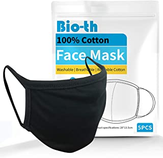 Sponsored Ad - Bio-th 5 Pack Premium Cloth Face Mask Machine Washable Reusable Breathable Comfort Ear Loop Cotton Youth Ad...