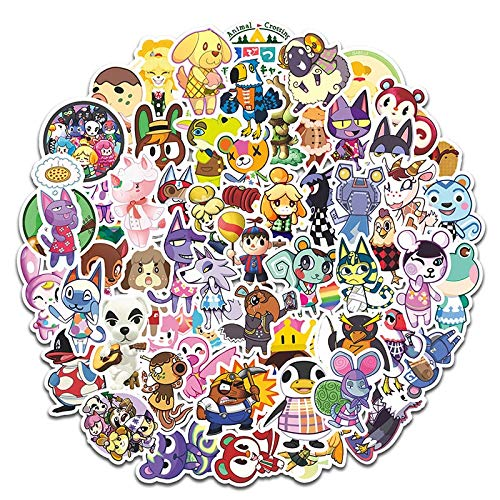 Animation Game Animal Crossing Cartoon Sticker for Computer Motorcycle Skateboard Guitar Toy Game Machine Gift Children 60Pcs