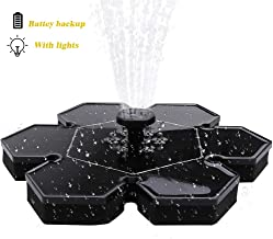LED Solar Fountain, Lighting Water Fountain for Bird Bath w/ Battery Backup, 10V 2W, Newest Solar Panel Fountain Pumps Submersible Outdoor, for Small Pond, Swimming Pool, Garden, Patio and Lawn
