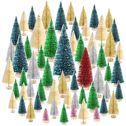 Huante No?L Tree, Sisal White Snow Frost Tree with Wooden Base, for No?L Decoration, Craft DIY Home Decoration