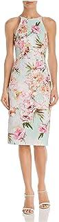 BLACK HALO Womens Green Floral Sleeveless Jewel Neck Knee Length Sheath Evening Dress AU Size:8