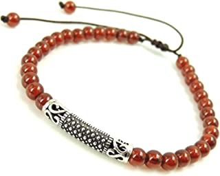 Blessings Meditation Charm Natural Healing Gemstone Bracelet 4.8mm Natural Orange Spessartine Garnet Handmade Braided with Easily Adjustable Durable Cords for Several Sizes Genuine 925 Sterling Silver