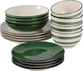 ProCook Coastal - Service de Table en Grès - 16 Pièces/4 Personnes - Grande Assiette Plate/Assiette à Dessert/Assiette Cre...