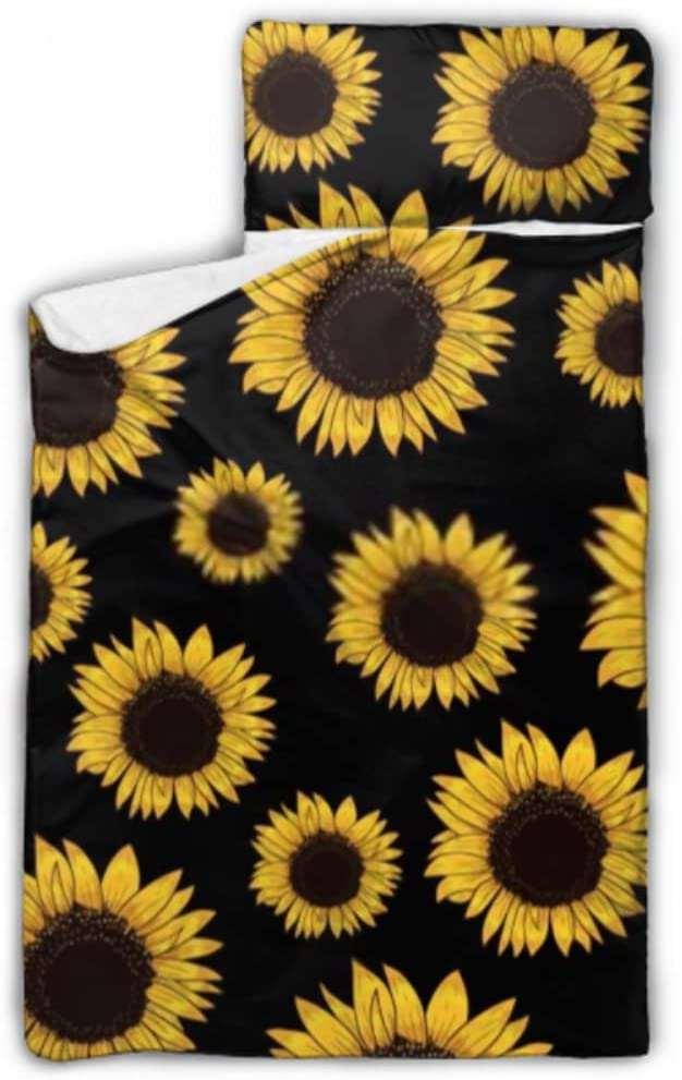 JIUCHUAN OFFicial Kids Sleeping Bag Sunflowers On with Limited Special Price Nap Pill Black Mat