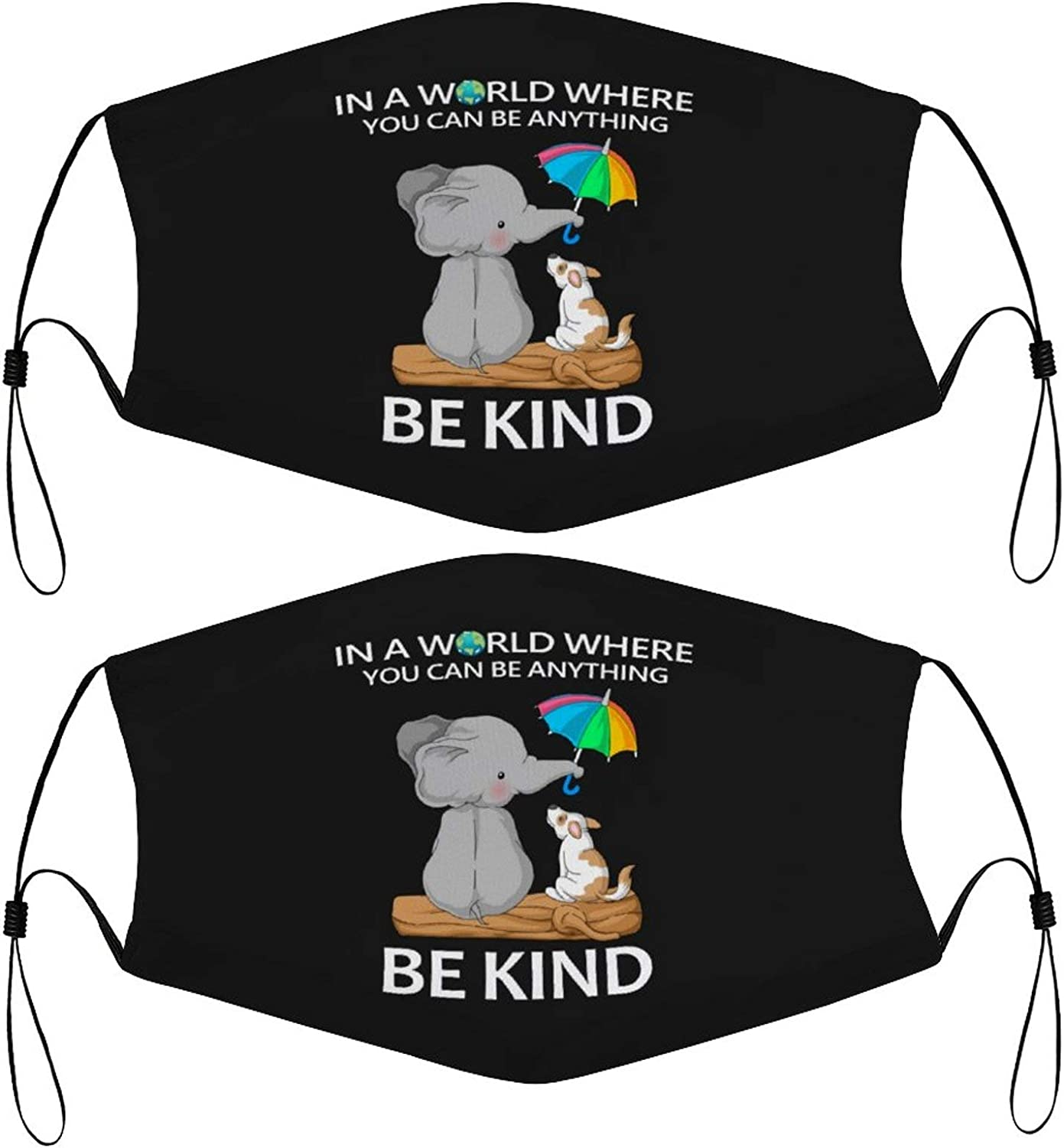in A World Where You Can Be Anything Be Kind Kids Face Mask Set of 2 with 4 Filters Washable Reusable Adjustable Black Cloth Bandanas Scarf Neck Gaiters for Adult Men Women Fashion Designs