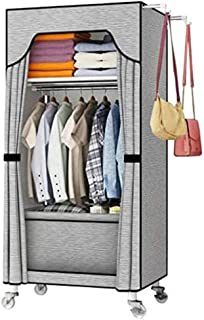 HWG Armoire Tissu Armoire Penderie avec Roue Et Rail De Garde-Robe Armoire Rangement pour Chambre à Coucher, étude, Vêteme...