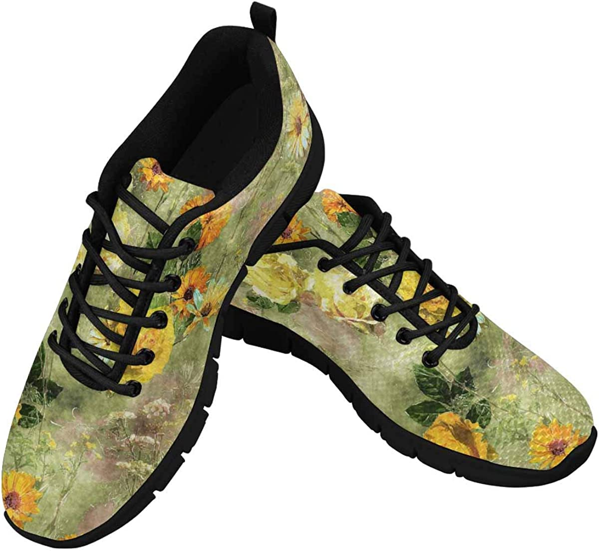 INTERESTPRINT Pattern with Yellow Rose Flowers Lightweight Mesh Breathable Sneakers for Women