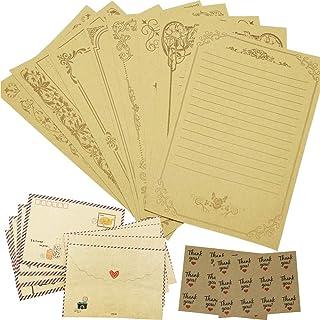 ورق كتابة ورق كرافت عتيق للأبد مع مجموعات من الأوراق المكتبية - 48 ورقة و24 ملصق مغلف / مغلف غلق، أصفر