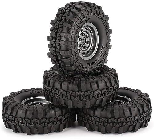 DERNON 4pcs 1.9in Rubber Tires Metal Wheel Rim for Traxxas TRX-4 SCX10 RC4 RC Car D90 grau Wheel