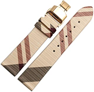 Choco&Man US Burberry Calfskin Leather Watch Band Replacement Watch Strap Quick Release Deployment Butterfly Buckle with Tool 16mm/18mm/20mm/22mm