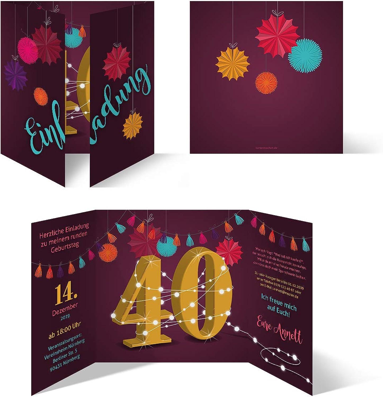 50 50 50 x Runder 40. Geburtstag individuelle Einladungskarten Einladungen - Girlande B07Q764BLK | Schöne Kunst  580e8e