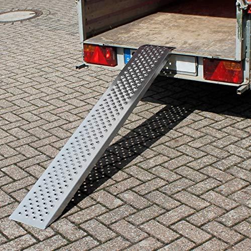 ECD Germany Rampa di Carico Portata Massima - 400 kg 149 cm - Alluminio Superficie Antiscivolo Rampa Perforata di Accesso per Rimorchi Roulotte Tagliaerba Moto Scooter Quad Auto Macchinari ATV Argento