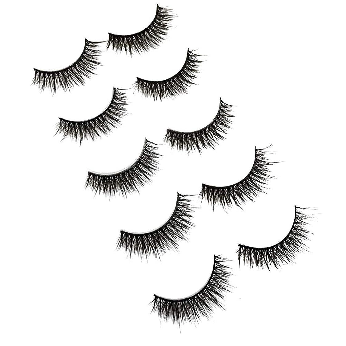 権限を与える使役長いです5ペアレディース3Dクロスイミテーションミンクの毛皮まつげ手作り稠密長い再利用可能なまつげ女性のためのナチュラルルック(3D30)