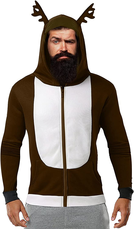 Christmas Hoodies for Men Long Sleeve Sweatshirt Antlers Color Block Hooded Zip Jacket Fleece Sweater Pocket