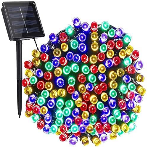 Cortina De Luces Led,Lámpara solar con tira de luz LED, cadena de luces LED de potencia, guirnaldas solares, decoración navideña de jardín para vacaciones al aire libre, 12m 100led