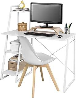 comprar comparacion SoBuy Mesa de Escritorio, Mesa de Ordenador con Tres Estantes,Color Blanco,FWT29-W,ES (Mesa)