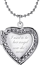 Latigerf I Used to be her Angel Now She's Mine Heart Locket Necklace Engraved Pendant Hold Photo
