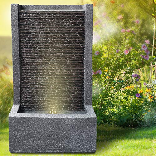 profi-pumpe.de Gartenbrunnen Brunnen Zierbrunnen Zimmerbrunnen Springbrunnen Brunnen 230V Wasserfall Wasserspiel für Garten, Gartenteich, Terrasse, Balkon Sehr Dekorativ (KÖNIGSBACH mit LED-Licht)
