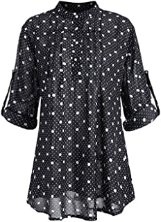 Women's V-neck Shirts Fashion Casual Loose Long Sleeves Maxi Blouse Size M