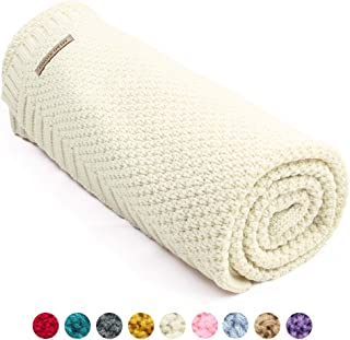 mimixiong Baby Blanket Knit Toddler Blankets for Boys and Girls Ivory 40x30 Inch