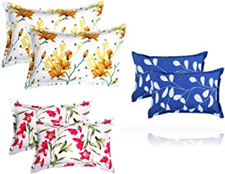 "Luxury Trends Present Designer Printed 6 Piece Cotton Pillow Cover Set- 20"" X30"" Inches, (White, Blue, Yellow, Red and Yel..."