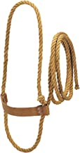 Weaver Leather Livestock Sisal Cow Rope Halter with Harness Leather Noseband, Tan