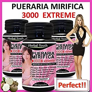 Extreme Pure & Natural Bust Breast Enlargement 120 Capsules Pueraria Mirifica 3000 2 BOTTLES