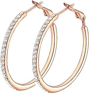 Hoop Earrings, Cubic Zirconia White Gold plated Hoop Earrings For Womens, Rhinestone Girls Earings