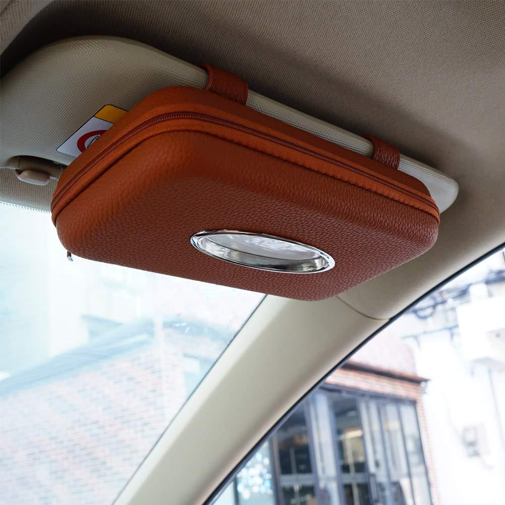 Sun Visor Napkin Holder PU Leather Backseat Tissue Case Holder for Car,Vehicle Cartisen Car Tissue Holder Car Visor Tissue Holder Brown