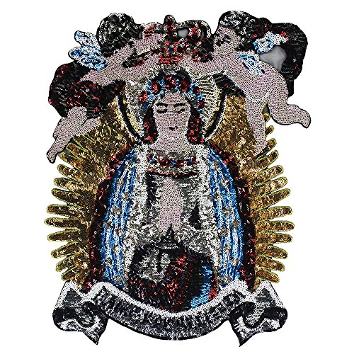 Große Pailletten-Applikation mit Jungfrau Maria und Jungen, Stoff, Stickerei, Rücken-Patch für Jacke, 1 Stück