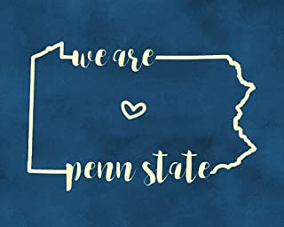 We Are Penn State 8x10 Inch Wall Decor Blue and White Art Pennsylvania Wall Art Print