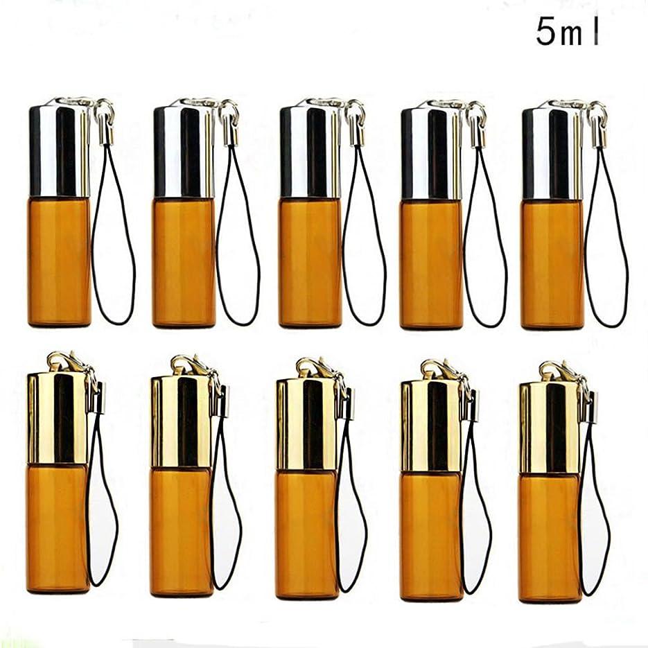 実用的ばか素晴らしいSAGULU アロマオイル 精油 小分け用 遮光瓶 遮光ビン ミニガラスアロマボトル エッセンシャルオイル用容器 スチールボールタイプ 詰替え 保存容器 茶色 5ml 10本セット