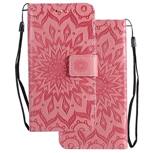 LEMORRY Handyhülle für Huawei Ascend Mate7 Hülle Tasche Ledertasche Beutel Haut Schutz Magnetisch SchutzHülle Weich Silikon Cover Schale für Huawei Ascend Mate7, Blühen Rosa
