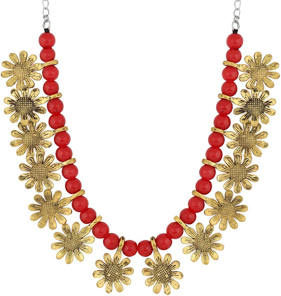 MUCH-MORE Indian Oxidized Colored Pearl Beaded Tribal Necklace Set Traditional Jewelry for Women