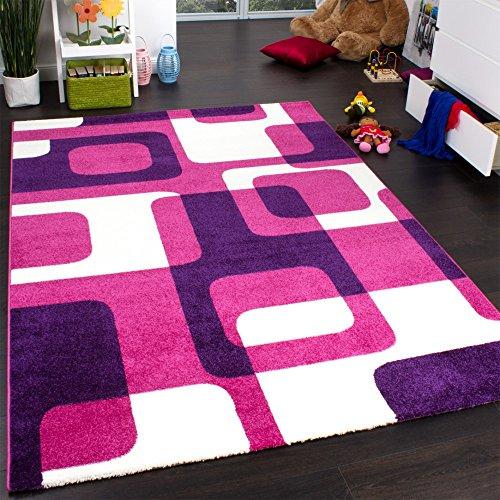 Paco Home Teppich Kinderzimmer Trendiger Retro Kinderteppich in Pink Lila Creme, Grösse:70x140 cm