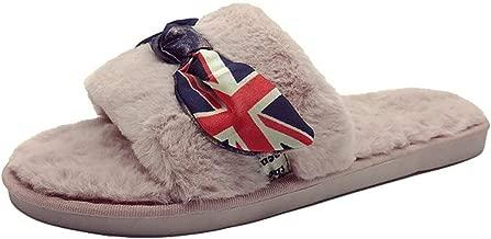 Ladies Slip On Sliders Fluffy Faux Fur Flat Slippers Flip Flop Sandals Sandalias Mujer