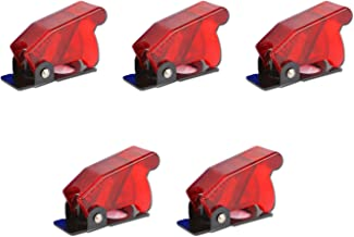 Antrader Plastic 12mm Mount Dia. Toggle Switch Cover Dustproof Safety Waterproof Safety Flip Cover Cap Red 6-Pack