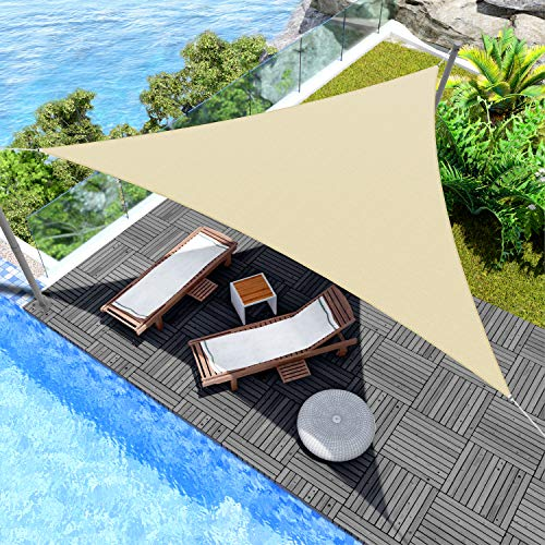 Windscreen4less 8' x 8' x 8' Triangle Sun Shade Sail - Beige Durable UV Shelter Canopy for Patio Outdoor Backyard - Custom