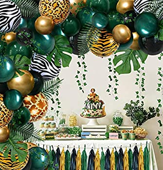 Jungle Safari Tropical Theme Sage Green Balloons Baby Shower Party Supplies Decorations Decor Wild One 1st First Theme Birthday Baby Shower Decorations for Boys Girl Balloons for Birthday Party