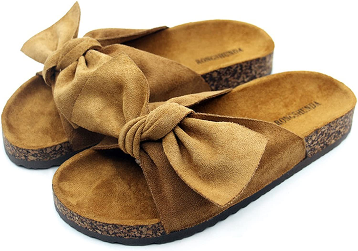 Mageed Women Slippers with Big Bow Suede Leather Female Slippers Sweet Slides for Cork Wood Sole Sandals