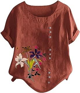 VigorY❀ Women's Long Sleeve Cotton Linen Jacquard Blouses Top T-Shirt Linen Retro Chinese Frog Button Tops Blouse